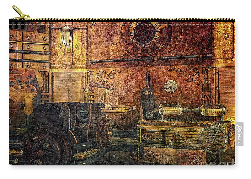 3d Carry-all Pouch featuring the digital art Time Machine by Jutta Maria Pusl