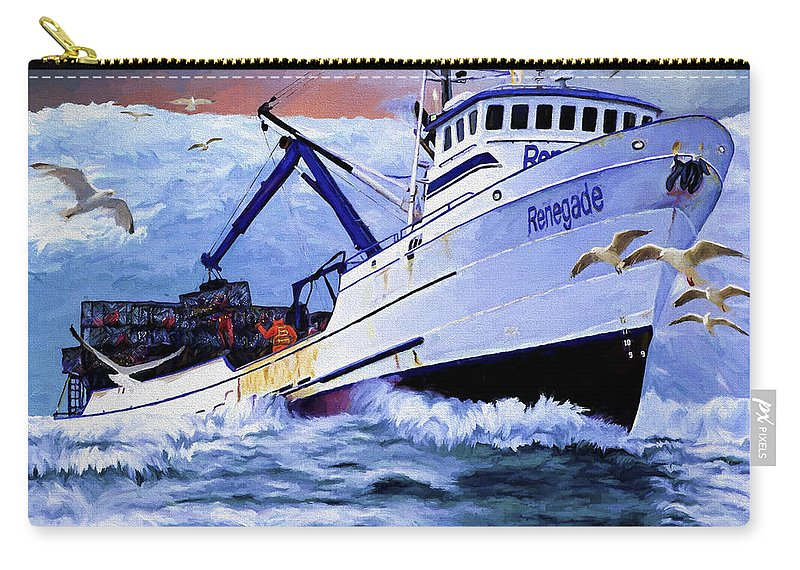 Alaskan King Crabber Carry-all Pouch featuring the painting Time To Go Home by David Wagner