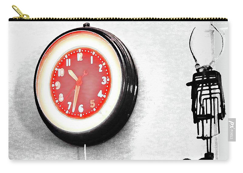 Clock Carry-all Pouch featuring the digital art Times Red by Lizi Beard-Ward