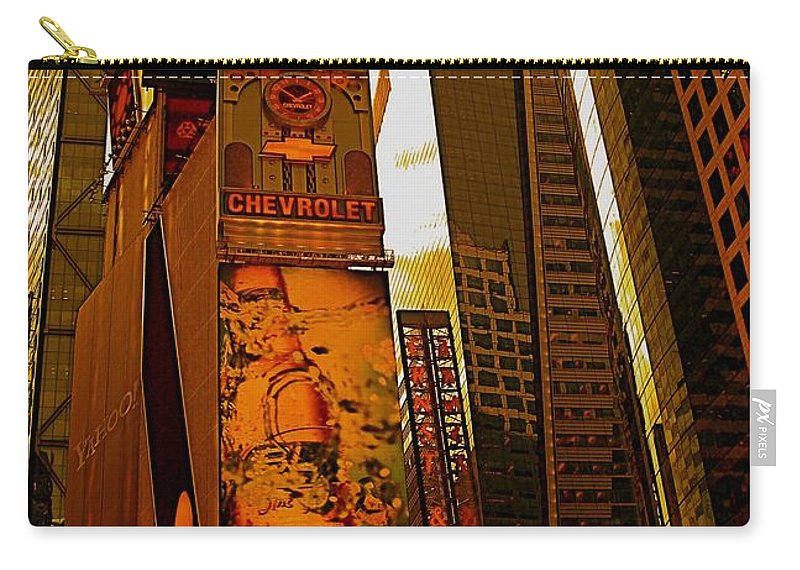 Manhattan Posters And Prints Carry-all Pouch featuring the photograph Times Square In Manhattan by Monique's Fine Art