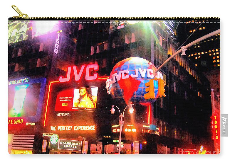 Times Square Carry-all Pouch featuring the photograph Times Square by Doc Braham