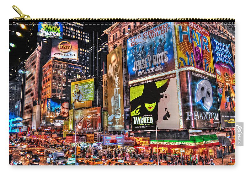 Manhattan Carry-all Pouch featuring the photograph Times Square by Randy Aveille