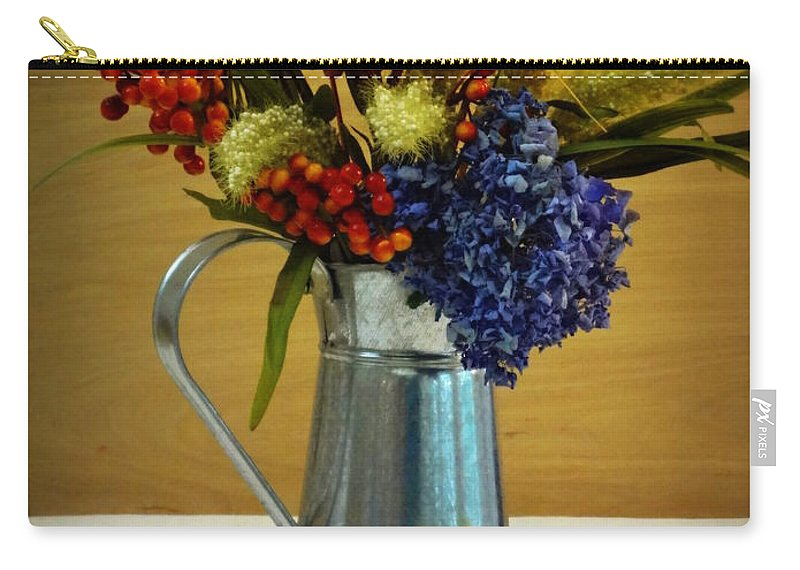 Bouquet Carry-all Pouch featuring the photograph Tin Bouquet And Green Apples by Deborah Crew-Johnson
