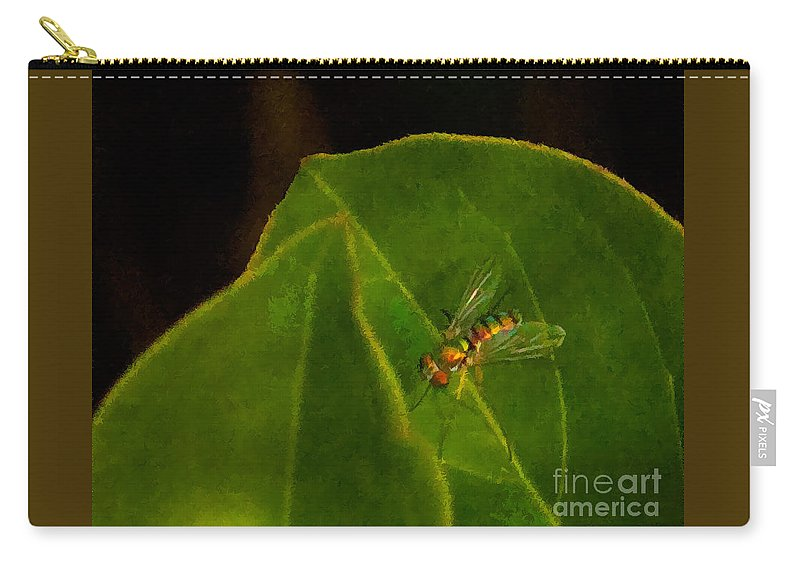 Leaves Carry-all Pouch featuring the photograph Tiny Fly by Photos By Cassandra
