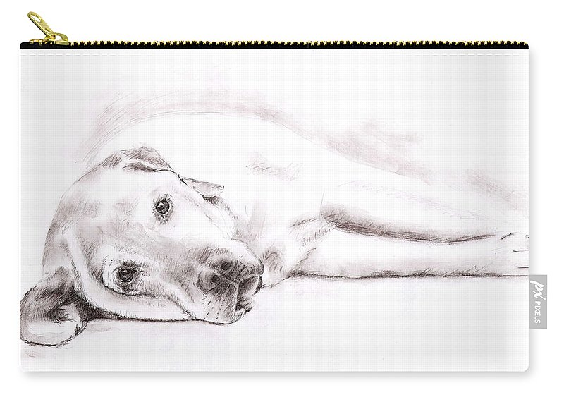 Dog Carry-all Pouch featuring the drawing Tired Labrador by Nicole Zeug