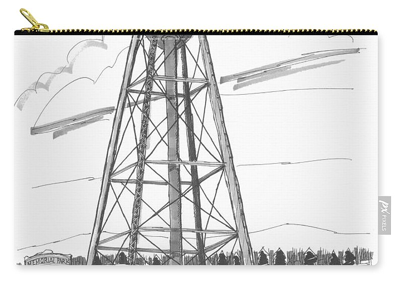 Tivoli Water Tower Carry-all Pouch featuring the drawing Tivoli Water Tower by Richard Wambach