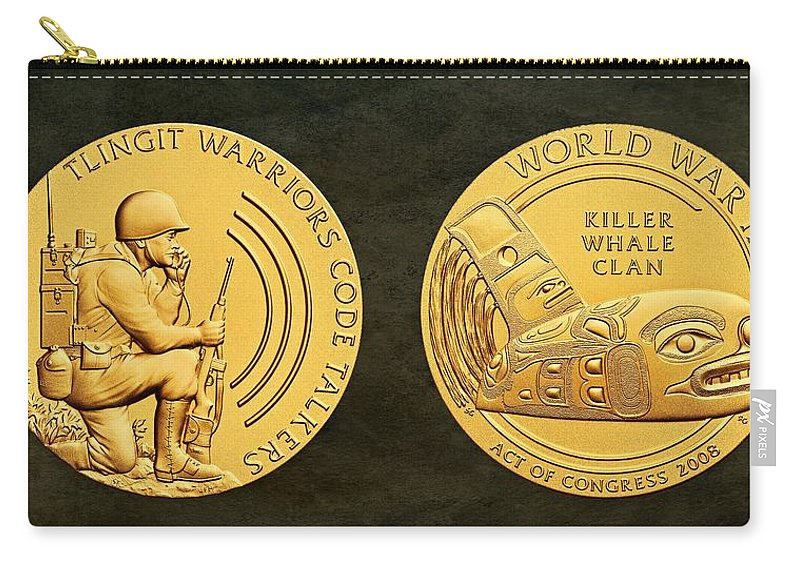 Tlingit Tribe Carry-all Pouch featuring the photograph Tlingit Tribe Code Talkers Bronze Medal Art by Movie Poster Prints