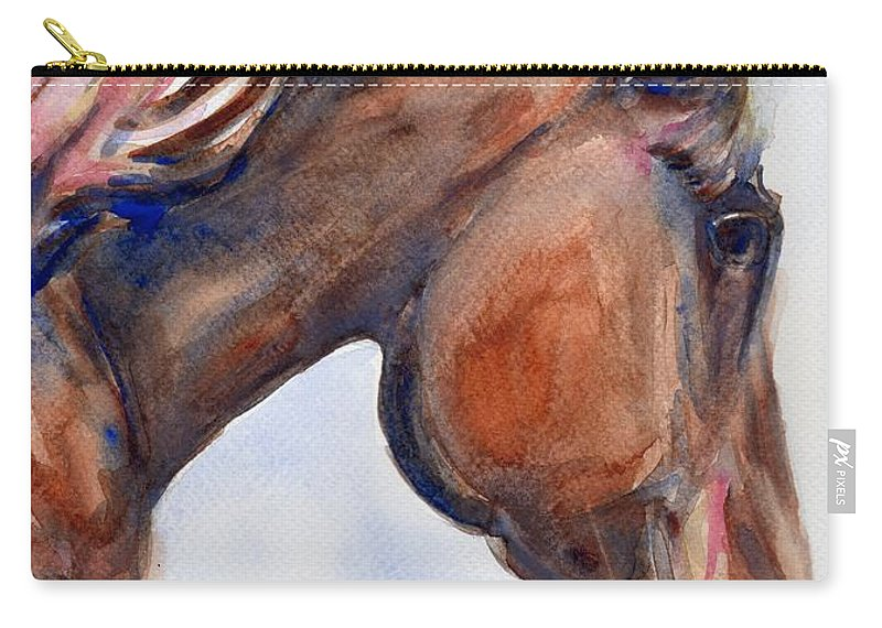 Horse Carry-all Pouch featuring the painting To Inspire by Maria's Watercolor
