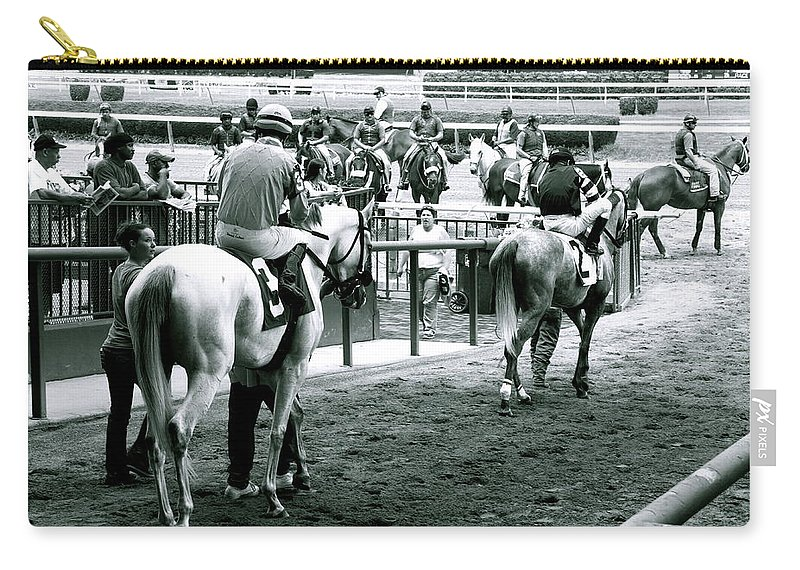 Horse Racing Jockeys Track Belmont Racetrack Black And White Carry-all Pouch featuring the photograph To The Track by Alice Gipson