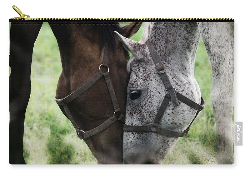 Horses Carry-all Pouch featuring the photograph Together by Angel Ciesniarska