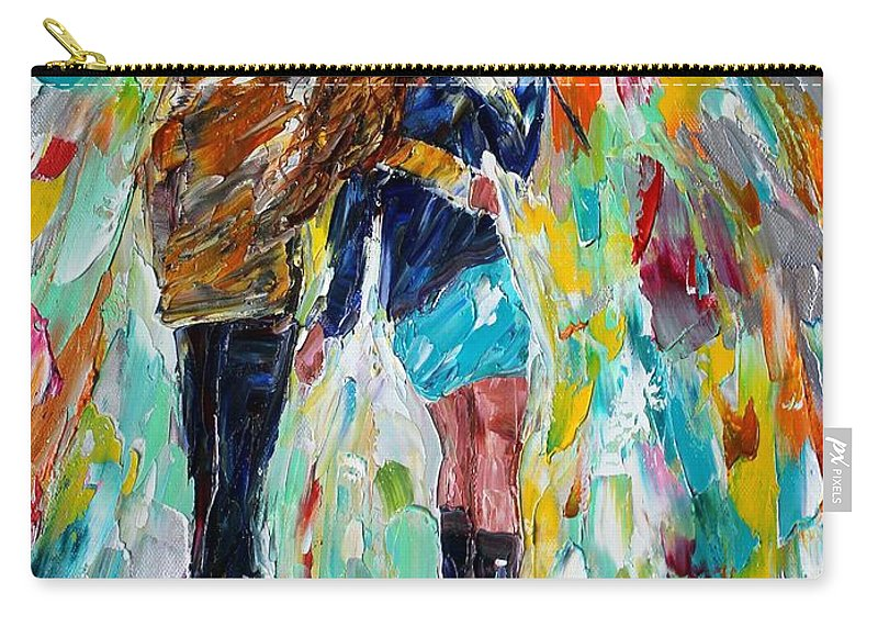 Rain Couple Carry-all Pouch featuring the painting Together In The Rain by Karen Tarlton