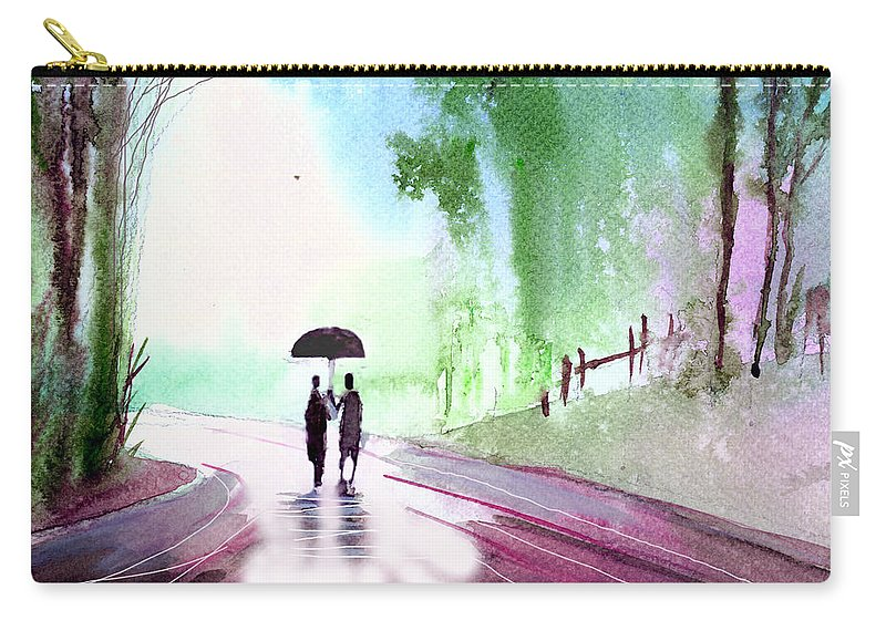Nature Carry-all Pouch featuring the painting Togetherness by Anil Nene