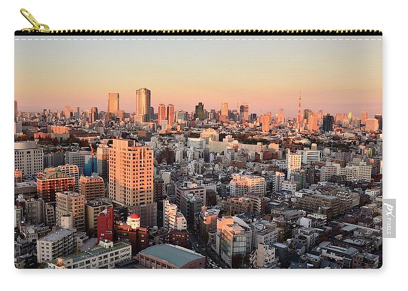 Tokyo Tower Carry-all Pouch featuring the photograph Tokyo Cityscape At Sunset by Keiko Iwabuchi