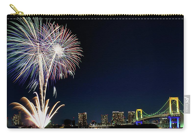 Firework Display Carry-all Pouch featuring the photograph Tokyo Fireworks by Vladimir Zakharov