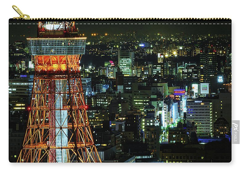 Tokyo Tower Carry-all Pouch featuring the photograph Tokyo Skyline With Tokyo Tower At Night by Sandro Bisaro