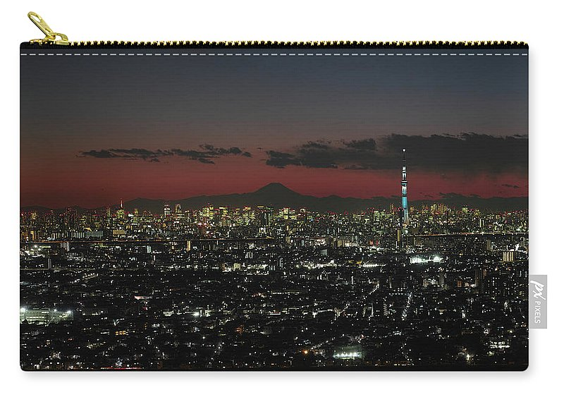 Tokyo Tower Carry-all Pouch featuring the photograph Tokyo Skytree, Fuji, And Tokyo Tower by I Love Photo And Apple.