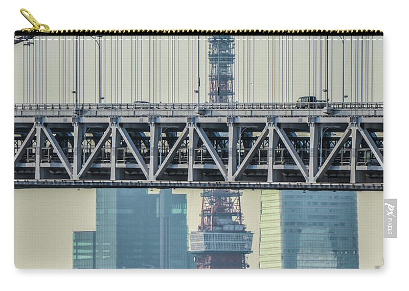 Tokyo Tower Carry-all Pouch featuring the photograph Tokyo Tower And Rainbow Bridge by Image Courtesy Trevor Dobson
