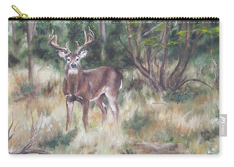 Deer Carry-all Pouch featuring the painting Too Tempting by Lori Brackett