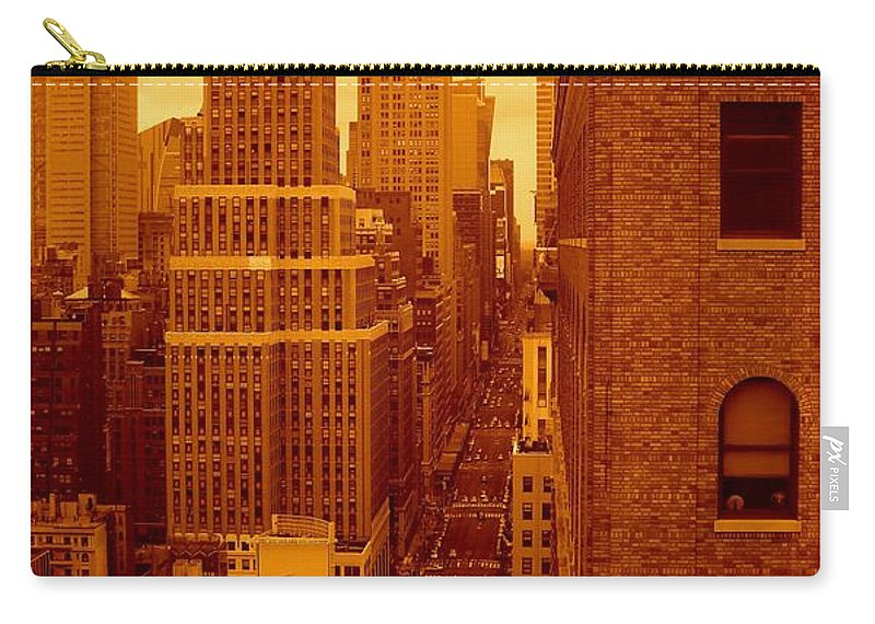Manhattan Posters And Prints Carry-all Pouch featuring the photograph Top Of Manhattan by Monique Wegmueller