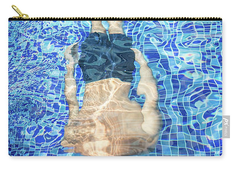 Underwater Carry-all Pouch featuring the photograph Top View Of Man Diving by Jasmin Merdan