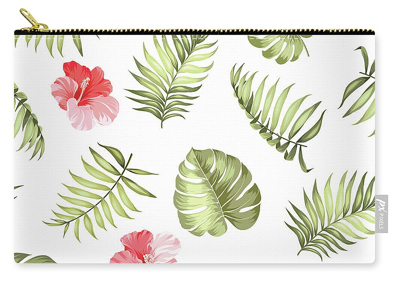 Tropical Rainforest Carry-all Pouch featuring the digital art Topical Palm Leaves Pattern by Kotkoa