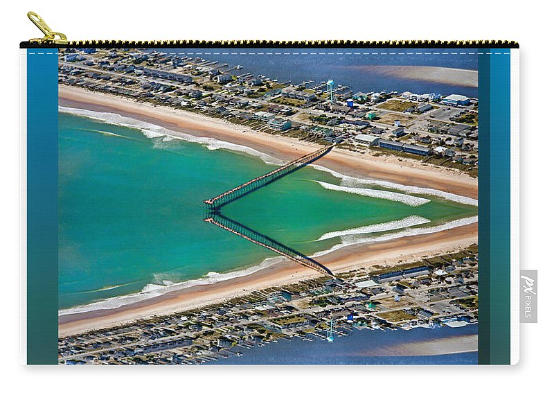 Topsail Carry-all Pouch featuring the digital art Topsail Beach Aerial Reflection by Betsy Knapp