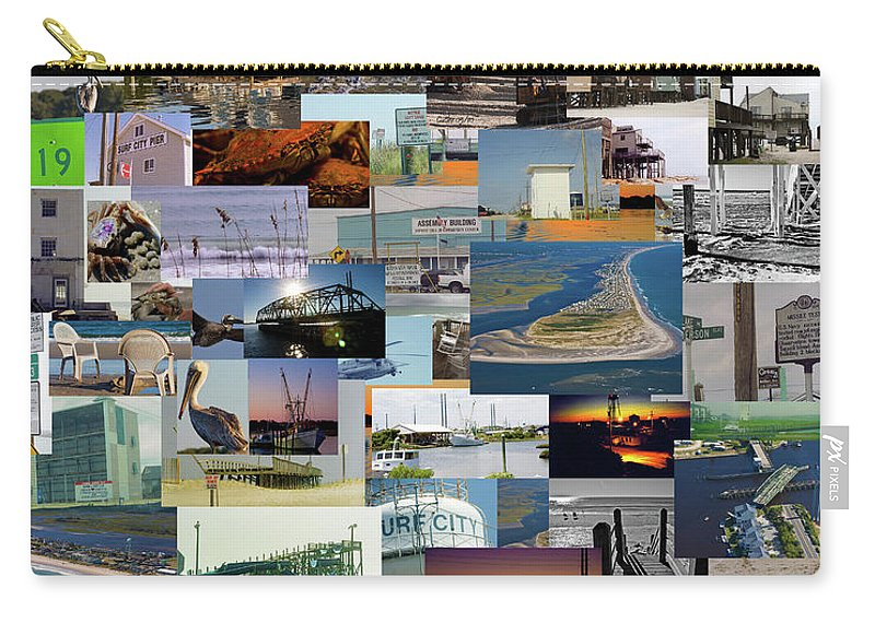 Topsail Island Carry-all Pouch featuring the photograph Topsail Island Nc Collage by Betsy Knapp