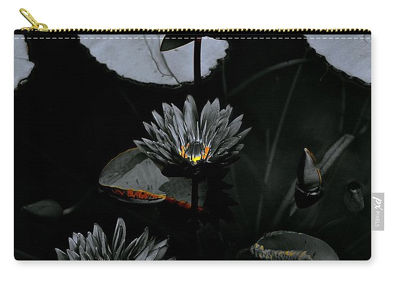 Monochrome Carry-all Pouch featuring the photograph Torchlight Water Flowers by Tim G Ross