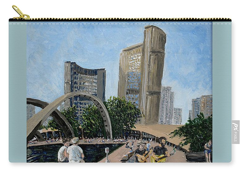 Toronto Carry-all Pouch featuring the painting Toronto City Hall by Ian MacDonald