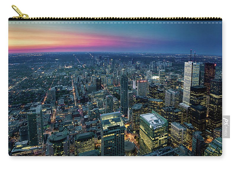 Downtown District Carry-all Pouch featuring the photograph Toronto Downtown City At Night by D3sign