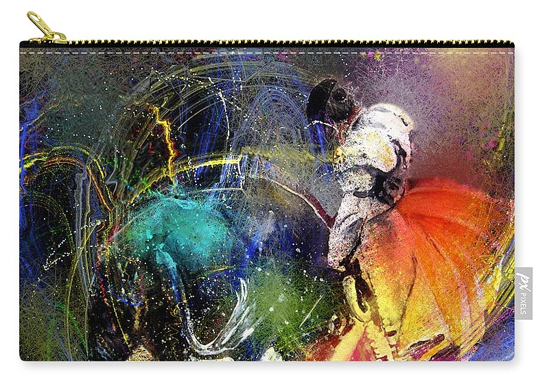 Bullfight Carry-all Pouch featuring the painting Toroscape 20 by Miki De Goodaboom