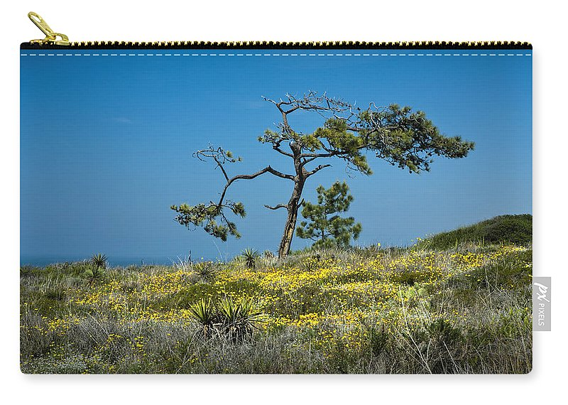 Art Carry-all Pouch featuring the photograph Torrey Pine On The Cliffs At Torrey Pines State Natural Reserve by Randall Nyhof