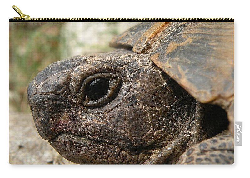 Animals Carry-all Pouch featuring the photograph Tortoise Portrait In Macro by Taiche Acrylic Art