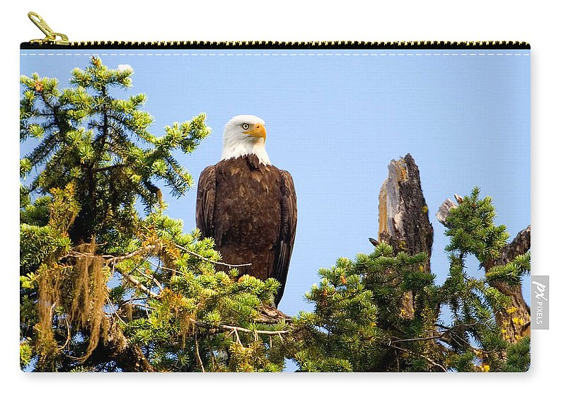 Carry-all Pouch featuring the photograph Totem Eagle by Randy Giesbrecht