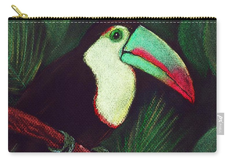 Malakhova Carry-all Pouch featuring the painting Toucan by Anastasiya Malakhova