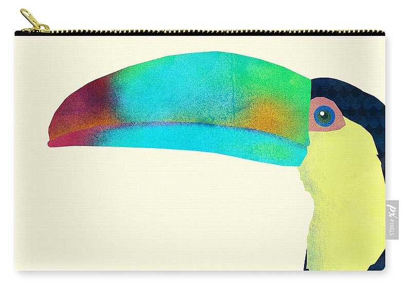 Bird Carry-all Pouch featuring the drawing Toucan by Eric Fan