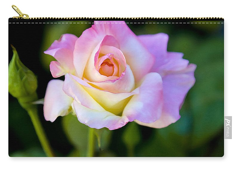 Rose Carry-all Pouch featuring the photograph Rose-touch Me Softly by David Millenheft