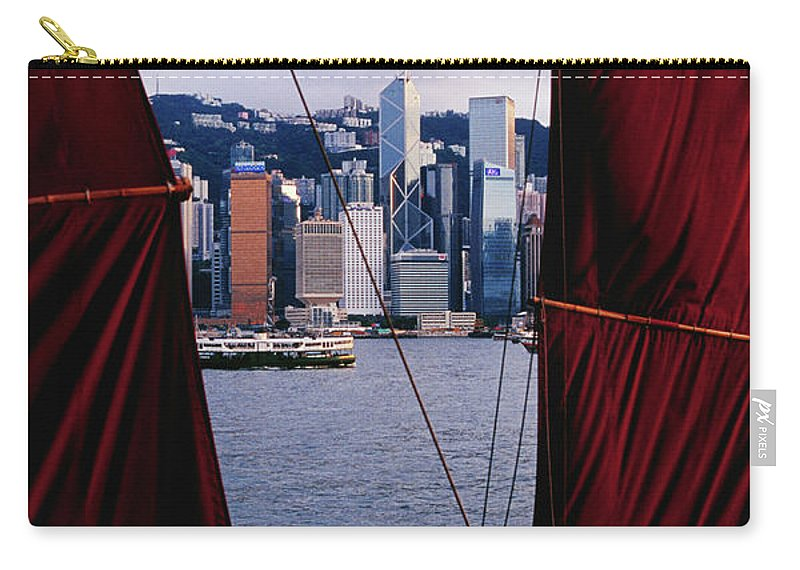 Chinese Culture Carry-all Pouch featuring the photograph Tourist Boat Junk Sails Framing by Richard I'anson