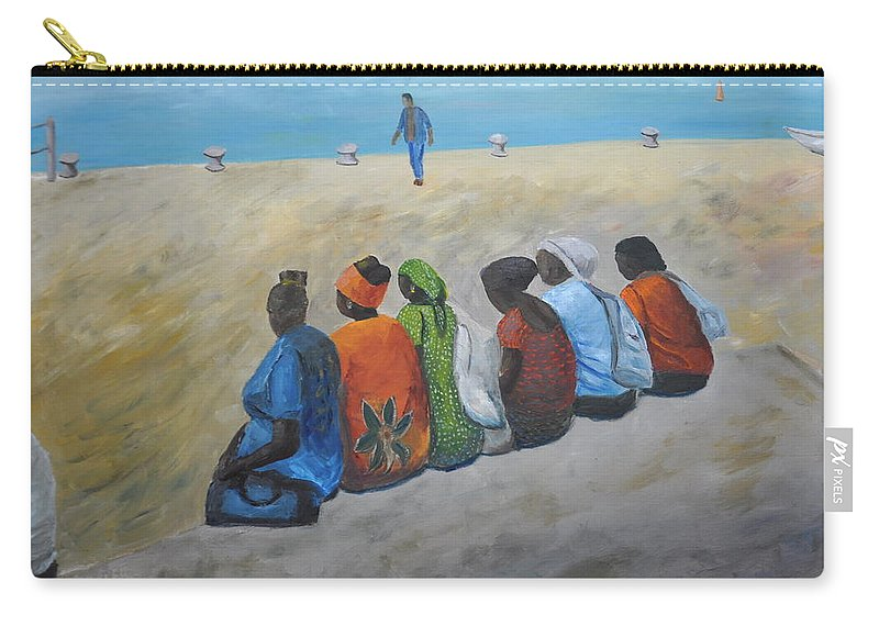 Women Carry-all Pouch featuring the painting tourists in Jaffa by Asher Topel