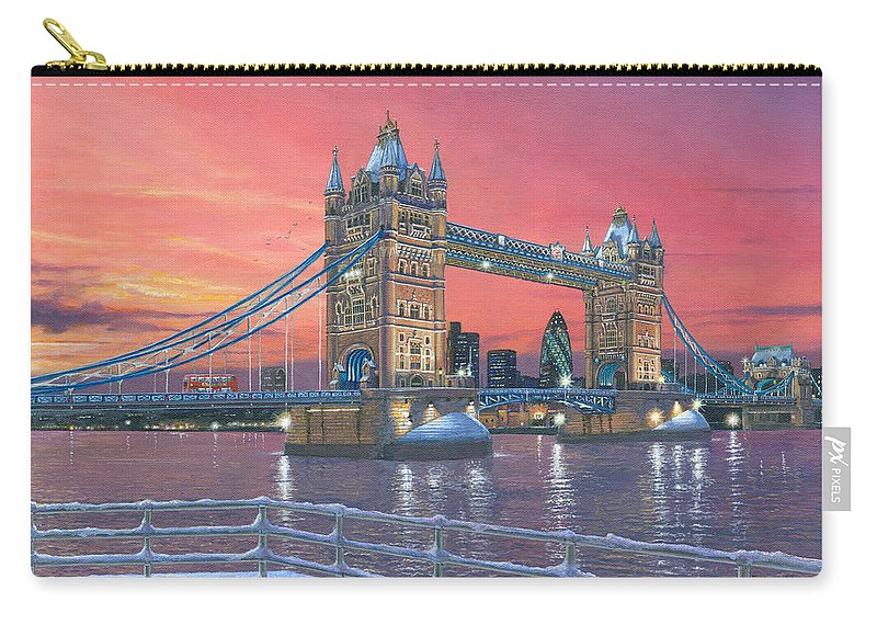 Architecture Art Carry-all Pouch featuring the painting Tower Bridge After The Snow by Richard Harpum