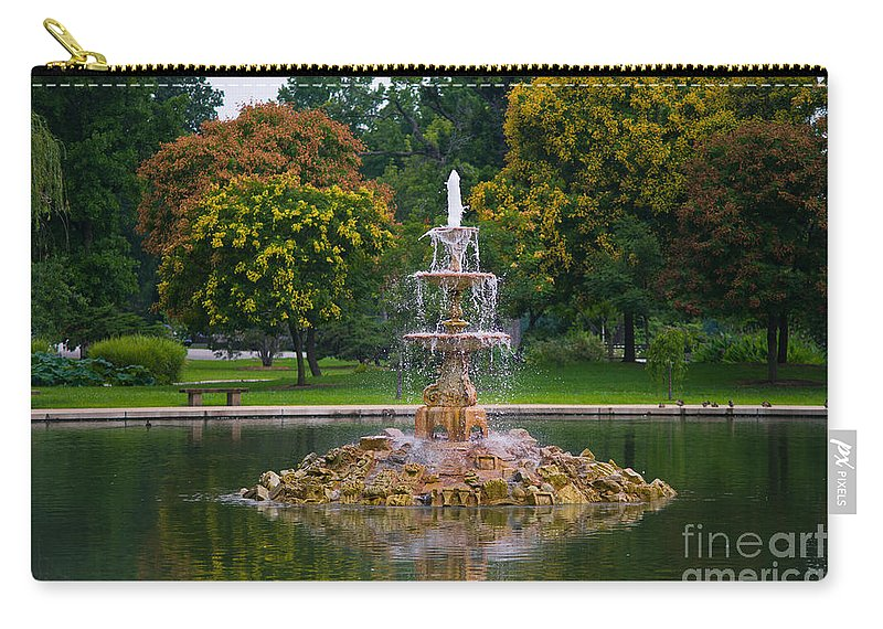 Y Tiefenbrunn Carry-all Pouch featuring the photograph Tower Grove Fountain by Cindy Tiefenbrunn