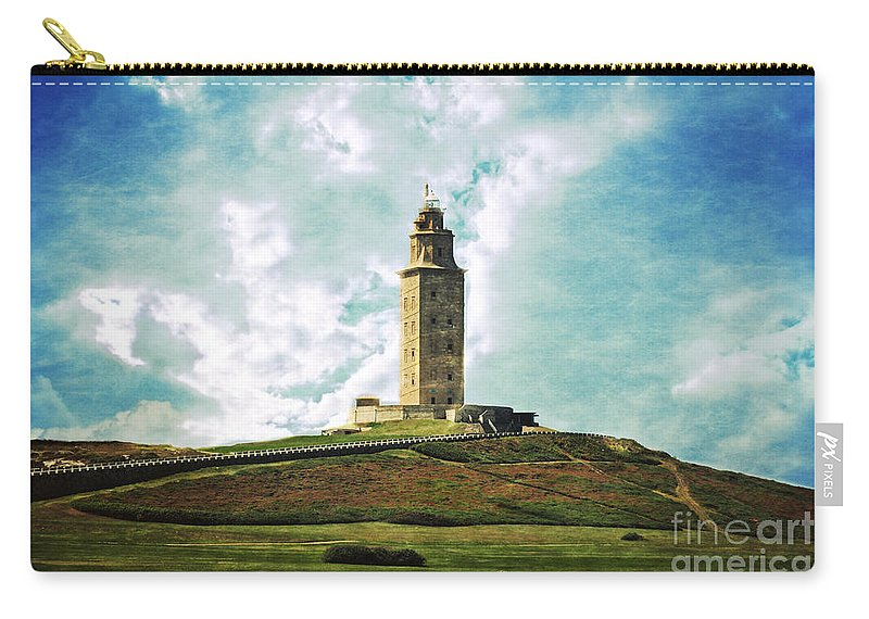Tower Of Hercules Carry-all Pouch featuring the photograph Tower Of Hercules La Coruna by Mary Machare