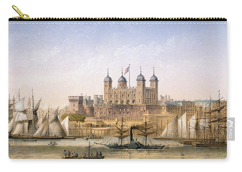 The Tower Of London Carry-all Pouch featuring the painting Tower Of London, 1862 by Achille-Louis Martinet
