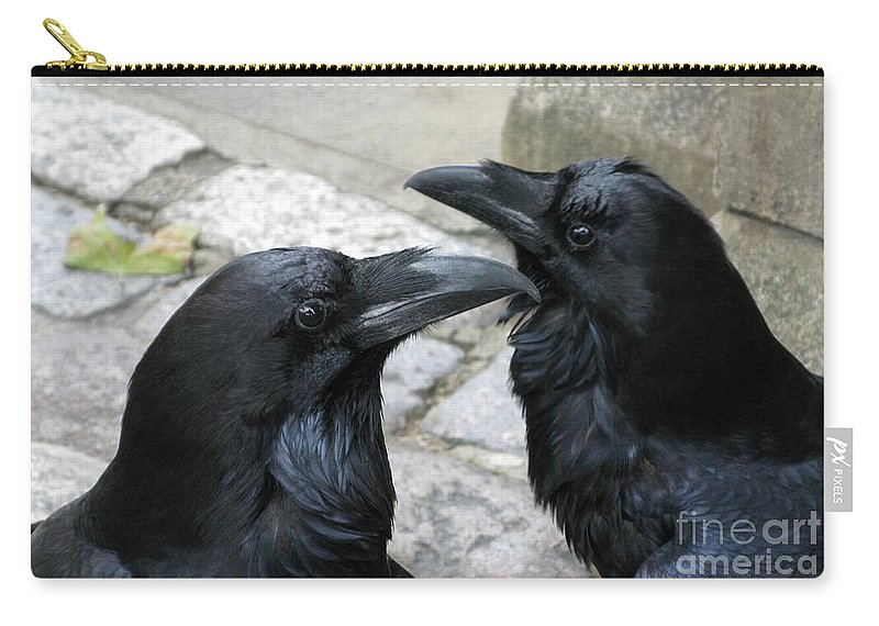 Raven Carry-all Pouch featuring the photograph Tower Ravens by Ann Horn