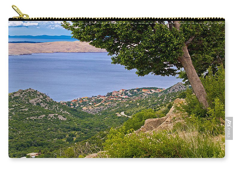 Croatia Carry-all Pouch featuring the photograph Town Of Karlobag And Island Of Pag by Brch Photography
