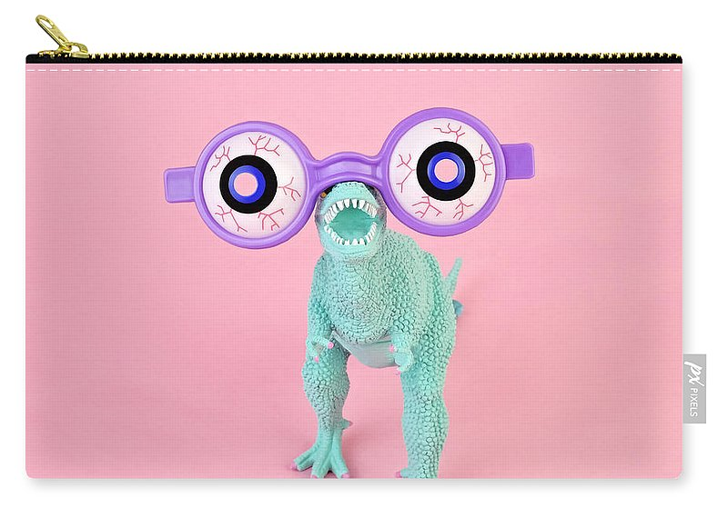 Purple Carry-all Pouch featuring the photograph Toy Dinosaur With Spooky Glasses by Juj Winn