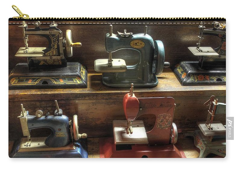 Sew Carry-all Pouch featuring the photograph Toy Sewing Machines by Jane Linders