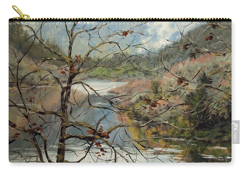 Landscape Carry-all Pouch featuring the painting Traces Of Autumn by Karen Ilari
