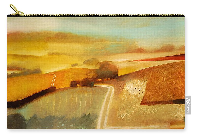 Country; Rural; Road; Lane; Field; Fields; Hedge; Hedges; Summer; Sun; Atmospheric; Environmental Carry-all Pouch featuring the painting Track by Charlie Baird