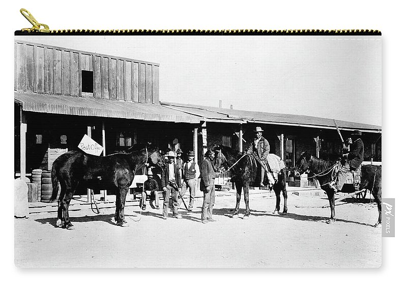 1882 Carry-all Pouch featuring the photograph Trading Post, 1882 by Granger